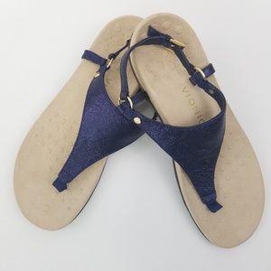 Sale today!! Metallic navy vionic thong sandals